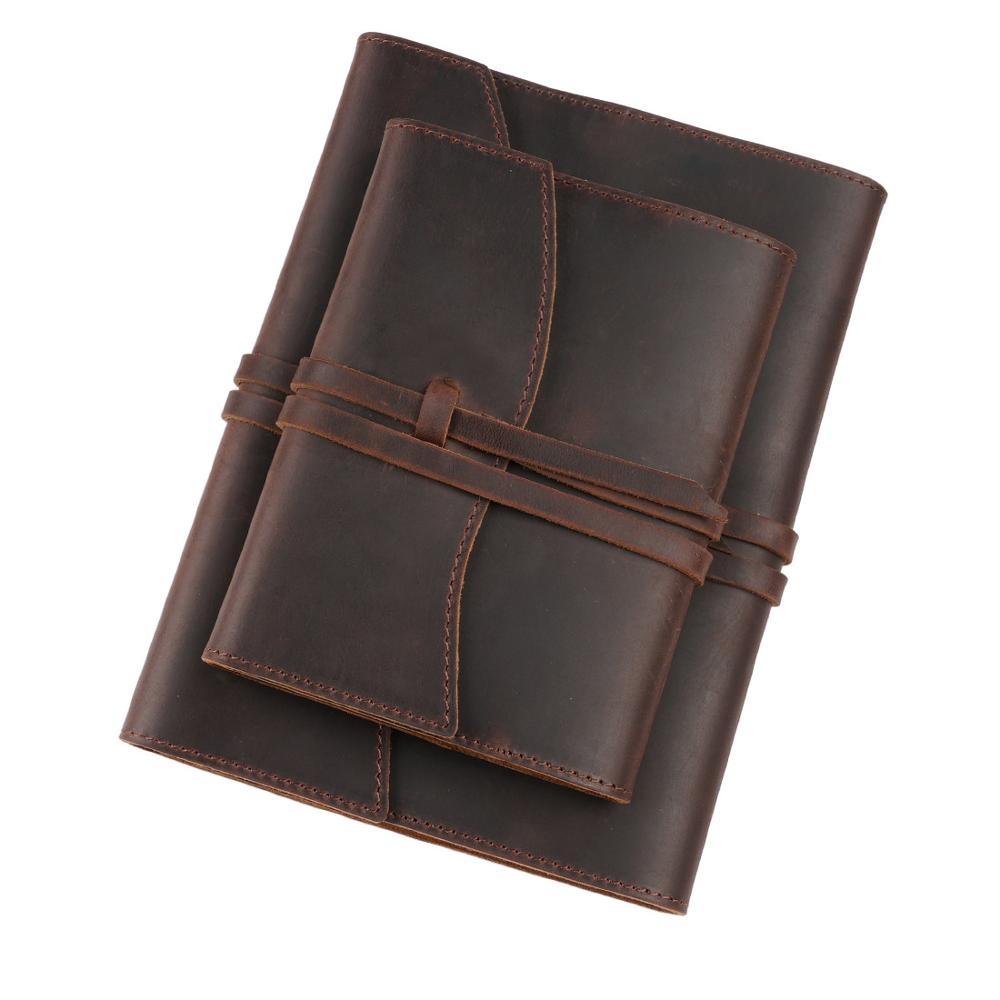 Capa de caderno de couro do vintage página fixa capa de diário de couro a5 a6 substituível inserção múltipla página presentes criativos