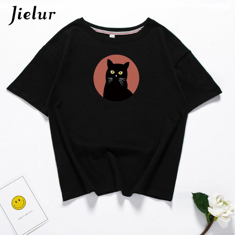 Jielur 6 Color Harajuku Gothic Cat Tshirt Feminina Camisetas Mujer Verano 2019 H