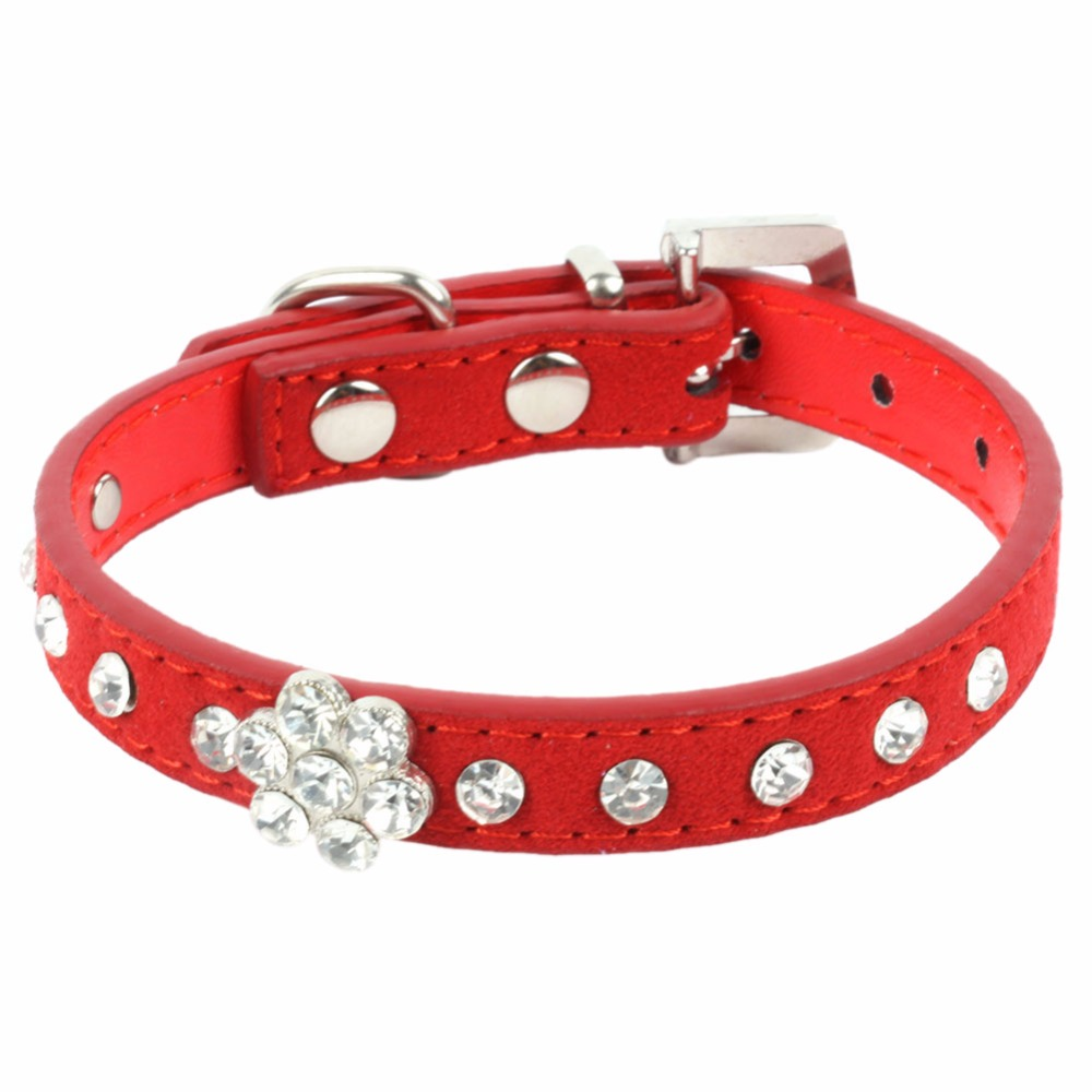 Pet Dog Cat Suede PU Leather Collar Crystal Rhinestone Puppy Neck Strap XS S M