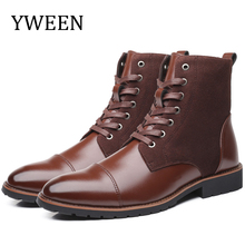 YWEEN Men Leather Boots Autumn Winter Superior quality Plush Motorcycle Military Plus Size 38-48