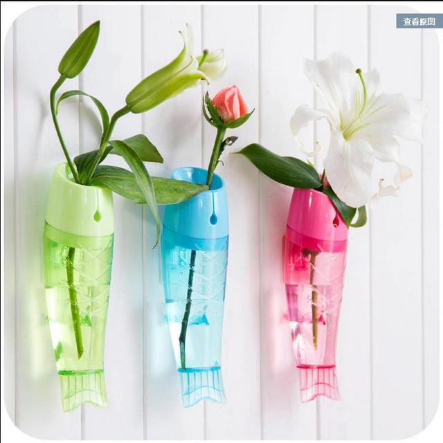 Nice 2015 Fish Shaped Plastic Vase Suction Cup Vases Decoratives Home Wall Decor  Flower Plants Storage Oggice