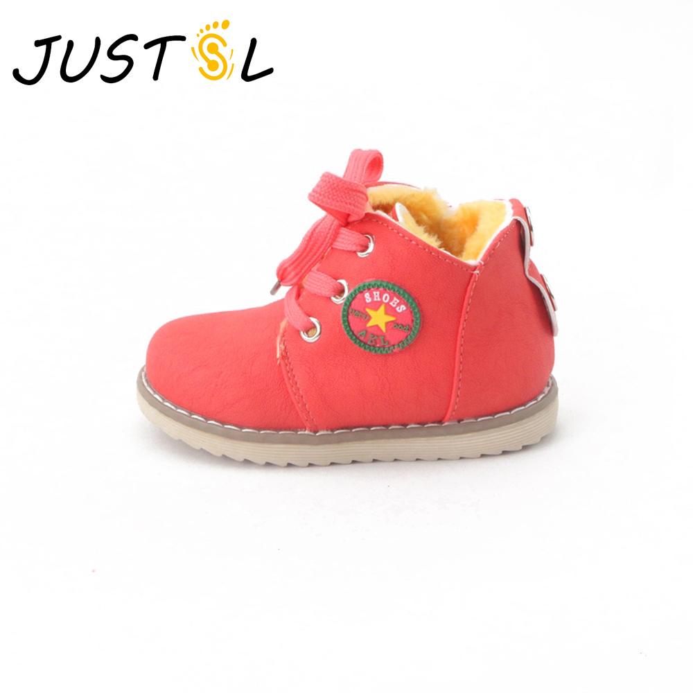 JUSTSL Hot Sale Children's Winter Shoes Thick Keep Warm Cotton-padded Boots Boys Girls High Quality Non-slip Comfortable Boots