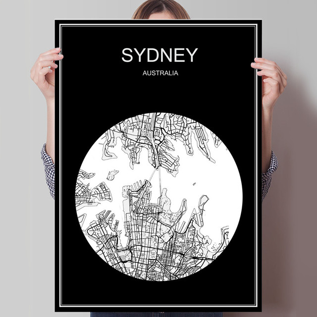 Black white city map of sydney australia print poster print on paper or canvas wall sticker