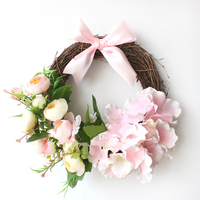 25-30CM South Korea Small Wreath Marriage Room Bedroom Garland Ornaments Wall Hangings Wedding Room Decoration Flowers Ring S $
