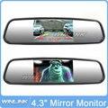 """El envío gratuito! 4.3 """"TFT Monitor Del Coche Espejo Retrovisor Auto Pantalla LCD de Copia de seguridad Cámara de Marcha Atrás Del Coche Record"""