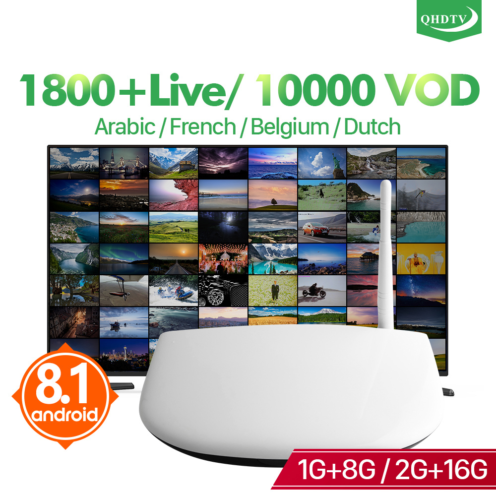 QHDTV Code IPTV Subscription France TV Box RK3229 Android 8.1 H.265 Decoder IPTV Arabic QHDTV Belgium IPTV Subscription 1 Year-in Set-top Boxes from Consumer Electronics