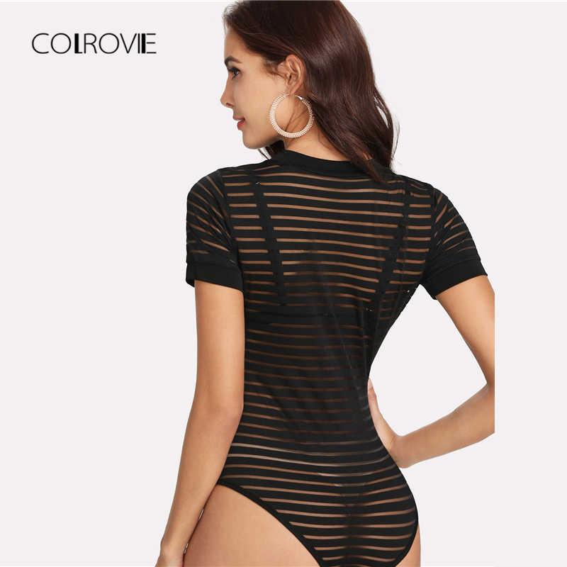 COLROVIE черный контрастный Sheer Mesh Skinny Bodysuit Лето 2018 г. короткий рукав сексуальное боди повседневное полосатый для женщин костюмы