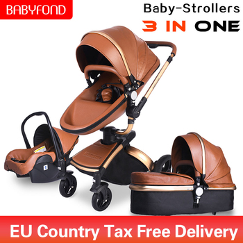 Babyfond 3 in 1 luxury stroller Two-way foldable four-wheeled Baby Newborn Pram leather aluminium alloy frame folding baby car