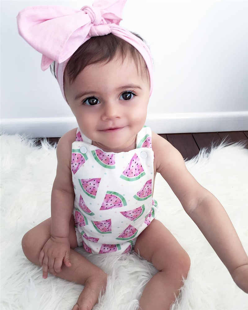 2017 Summer Baby Girl Jumpsuit Fruit Cute watermelon Tops Romper with Headband 2pcs suit Newborn baby girl clothes 2017 sequins mermaid newborn baby girl summer tutu skirted romper bodysuit jumpsuit headband 2pcs outfits kids clothing set