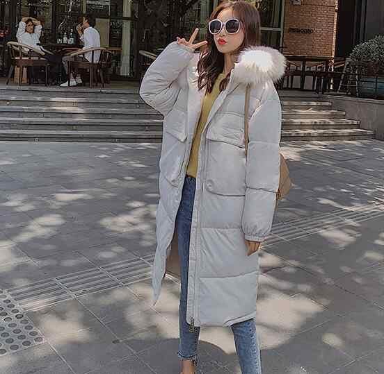 Delle donne di modo 2019 Nuovo Arrivo Solido Sottile Lungo Nuovo Formato Per Le Donne del Cotone Sottile Imbottiture Parka Con Cappuccio Inverno giacca 8810