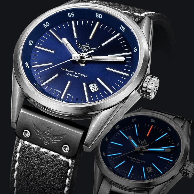 YELANG V1017 100 m étanche Super Long T100 Tritium Tubes lumineux hommes automatique mécanique montre-bracelet-bracelet en cuir