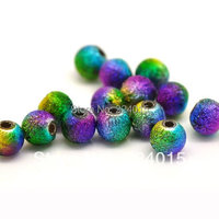 Free Shipping 500 Pcs Wholesale Multicolor Stardust Acrylic Spacer Beads 6mm For Jewelry Findings
