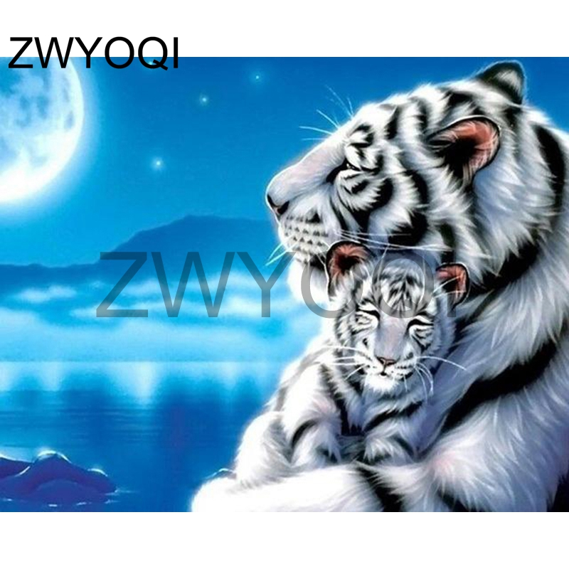 Tiger Family Full Drill 5D Diamond Embroidery Painting Cross Stitch Kit #T