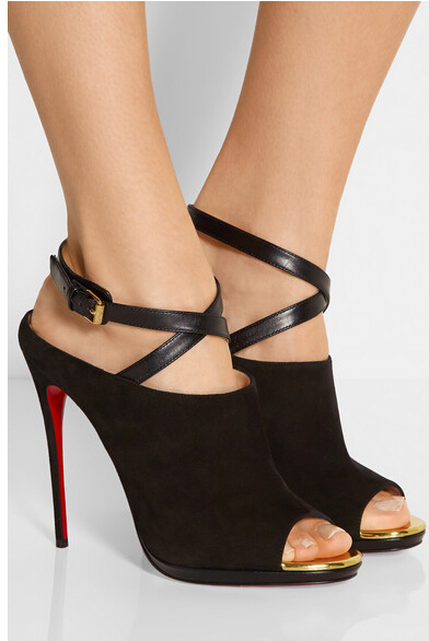 High Quality Flock Shoes Women Peep Toe Stiletto Heel Mules  BuckleFastening Leather Strap Red