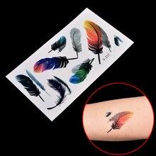 19*9cm Waterproof Styling Tatoo 1Pc Feather 3d Temporary Tattoo Body Art  Flash Tattoo Stickers