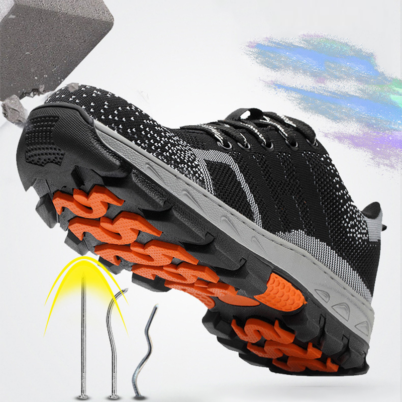 Outdoor Men's Breathable Mesh Steel Toe Cap Work Safety Shoes Anti-smash Anti-slip Steel Puncture Proof Safety Shoes Women