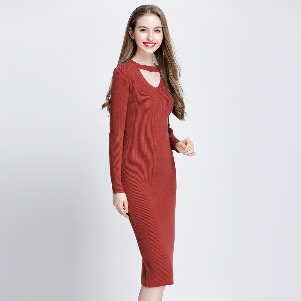 2017 Autumn New Women Knitted Dress Runway Sweater Dress Slim Ribbed Stretchy Fabric Hollow Out Midi Long Bodycon Brief Dress tommy hilfiger new poppy red women s small s ribbed crewneck sweater $89 043