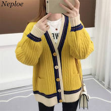 2019 Cardigan Women Long Sleeve Sweater Autumn Winter V-neck Lady Cardigan Coat Causal Loose Knitted Femme Sweaters Plus Size synthetic mink cashmere sweater cardigan women korean winter coat batwing sleeve knitted long cardigan thick plus size sweaters