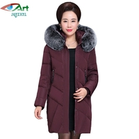 JQNZHNL 2017 Women Thicken Down Cotton Coats Mid Aged Women Parkas Fur Hooded Coats Medium Long