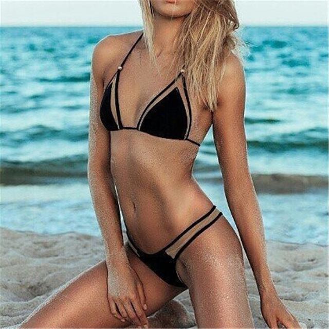 JABERAI Mesh Bathing Suit 2017 Bikini Set Splicing Push Up Swimsuit Brazilian Swimwear Women Halter Biquini Maillot de Bain