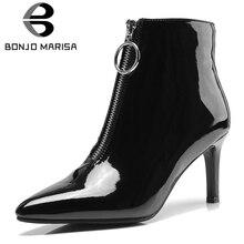 BONJOMARISA 2019 Winter Brand Big Size 32-43 Hot Sale Women Patent Pu Ankle Boots Zipper Decoration High Heels Party Shoes Woman
