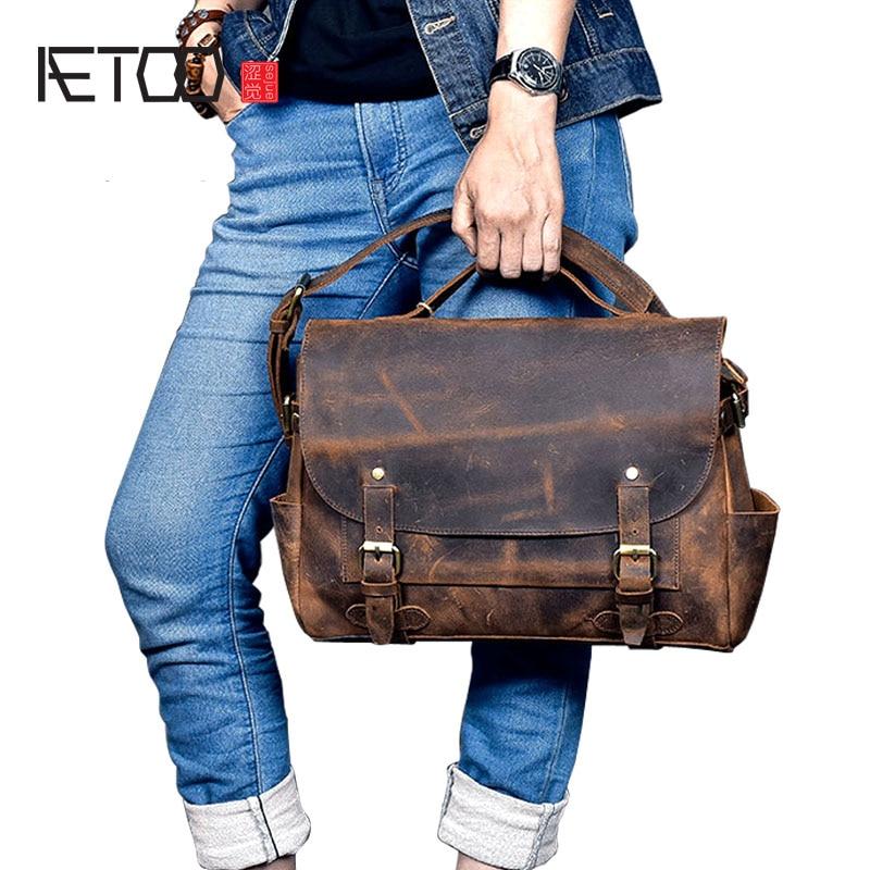 AETOO Nuovi uomini di cuoio reale del sacchetto olio cera pelle bovina retro di spalla degli uomini Messenger bag in pelle strato testa borsa a tracolla casuale