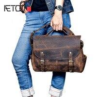 Aetoo Новый настоящая мужская кожаная сумка масло Воск Теплые Ретро Мужская сумка Начальник слой кожи Повседневная Сумка
