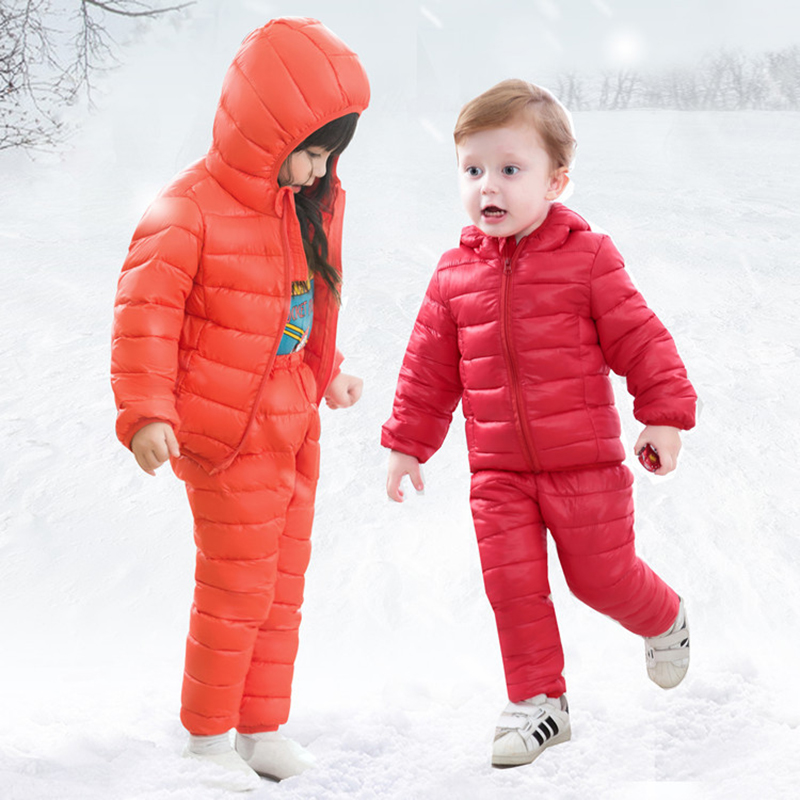 Winter Hooded Down Jackets +Trousers Boys Girls Clothing Sets Children's Thermal Jacket Clothes Y905 2 pcs children set baby boys girls clothing sets winter hooded down jackets trousers waterproof thick warm kids outerwear xl242