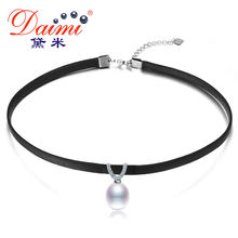 DAIMI Leather Pendant Necklace 8-9mm Tear Drop / 13-14mm Coin Pearl Freshwater Pearl Necklace Trendy Necklace(China)