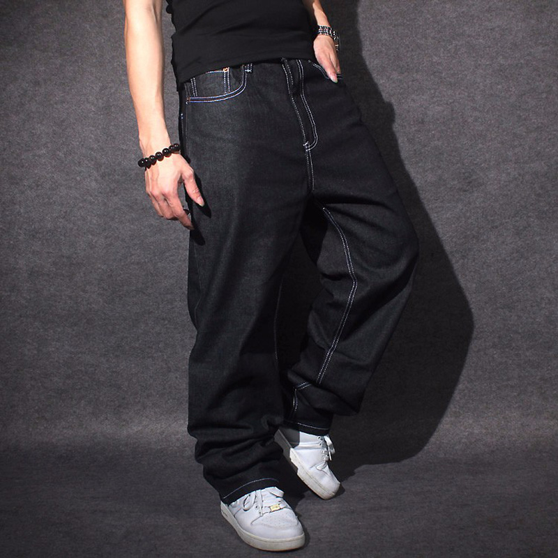 2019   Jeans   Men Baggy Black Casual Rap   Jeans   Loose Pants Hip-Hop Loose Style Hip Hop   Jeans   For Boy Big Size 30-44 CHOLYL
