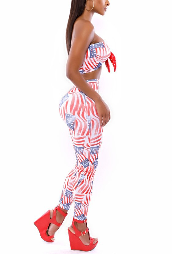 d8cdaf83c6ca 6099 2 Pieces American Flag Women Sexy Jumpsuits Rompers Hot Club Party  Bandage Jumpsuit on Aliexpress.com