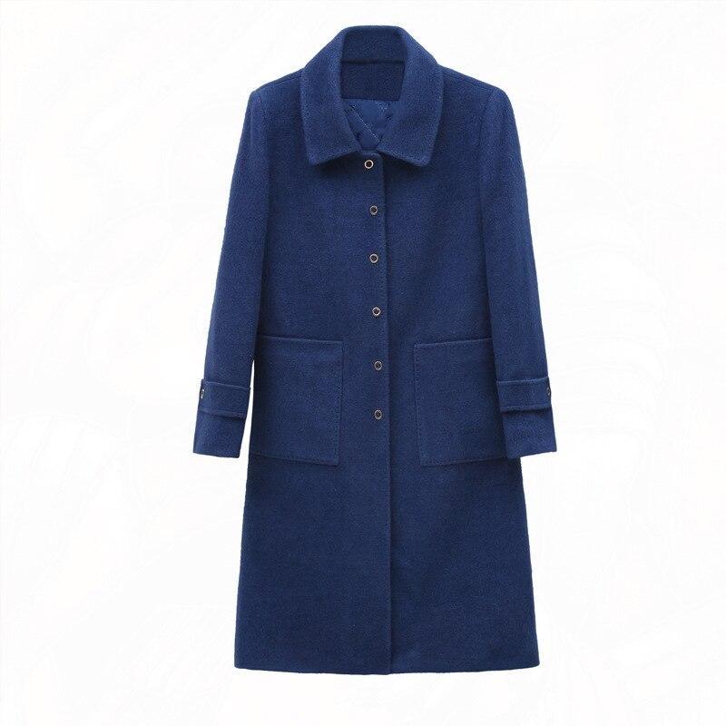 Vêtements De Moyen Épaississement Hiver Élégant Et Manteau Lattice Blue 2019 Femmes D'âge Noble caramel Nouveau Célèbre Automne Color Laine Long Color deep EvPvn0Wq