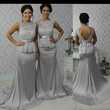 Mermaid Bridesmaid Dress Elegant Lace Bodice Backless Satin Maid of Honor Floor-Length Wedding Party Gown BD119