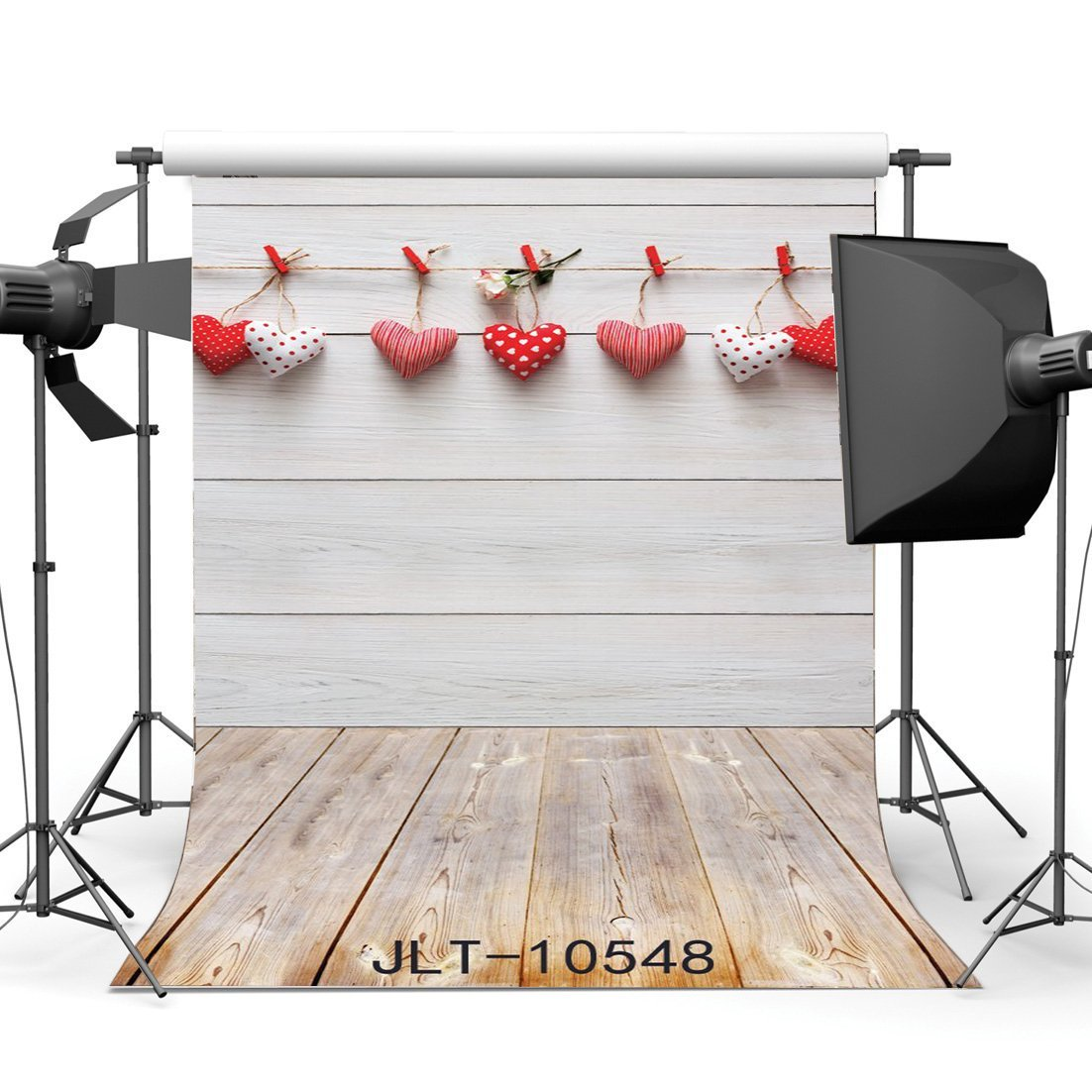 Photography Backdrops Hearts Hanging on Whitewashed Wood Wall & Nostalgia Stripe Wooden Floor Christmas Holiday  Background-in Photo Studio Accessories from Consumer Electronics