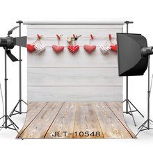 Photography Backdrops Hearts Hanging on Whitewashed Wood Wall & Nostalgia Stripe Wooden Floor Christmas Holiday  Background
