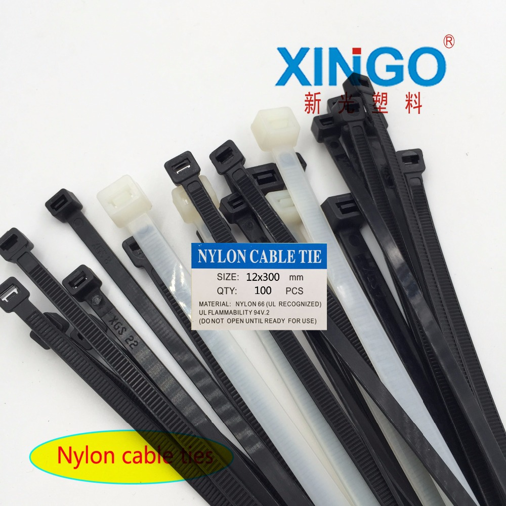 100Pcs/pack 12x300 12*300 High Quality width 12mm White Black Self-locking Plastic Nylon Cable Ties,Wire Zip Tie