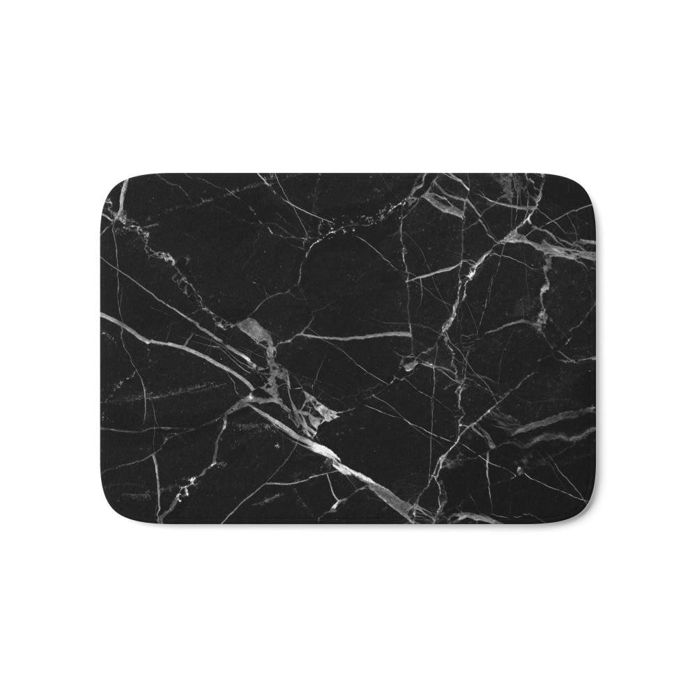 Alfombra de baño de mármol negro 17