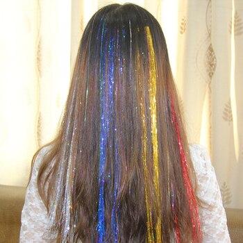 Pelo de moda, oropel, purpurina brillante, extensión, realce de cabello falso, hebras, pieza larga, Accesorios para peinados de maquillaje para fiesta