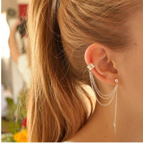 US $0.45 25% OFF|H:HYDE 2018 New Arrival 1 Pcs Fashion Personality Gold/ Silver Color Leaf Tassel Long Earrings Pendents Ear Cuff Women brincos-in Stud Earrings from Jewelry & Accessories on Aliexpress.com | Alibaba Group