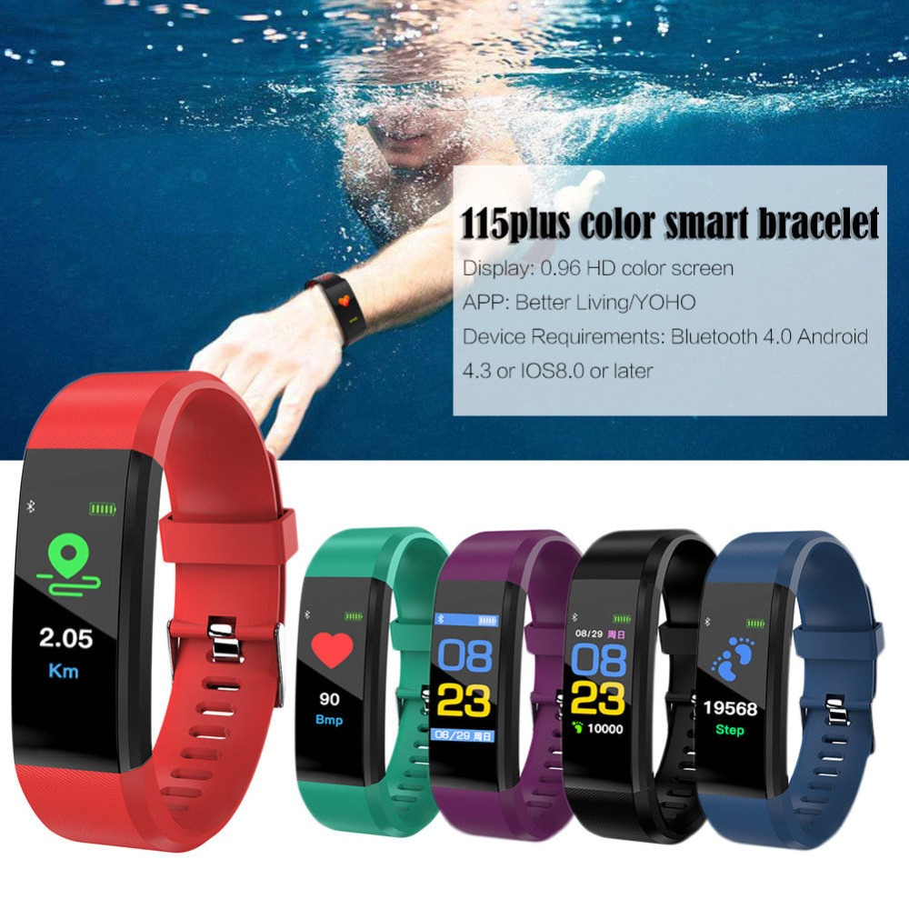 Tonbux ID115 Plus Waterproof Smart Band Fitness Tracker Heart Rate Tracker  Sports Record Blood Pressure Testing Smart Bracelet