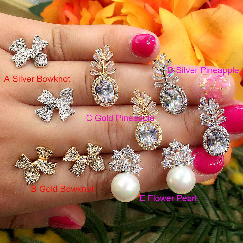 GODKI Ít Dứa Bowknot Thời Trang Bộ Sưu Tập Luxury Phổ Biến Cubic Zirconia Stud Earrings Bông Tai Trang Sức cho Phụ Nữ