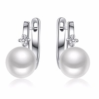 Guaranty Sterling Silver 925 With Black Pearl Stud Earings Classic Style Party Jewelry TZ4187EB Business Present