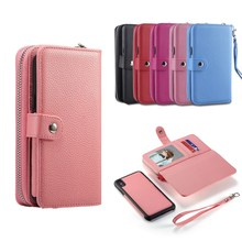 Removable Wallet Phone Case for iPhone 6 7 8 X Xr Xs Max PU Leather Litchi Protective Shell Card Slot Purse Lanyard Back Cover