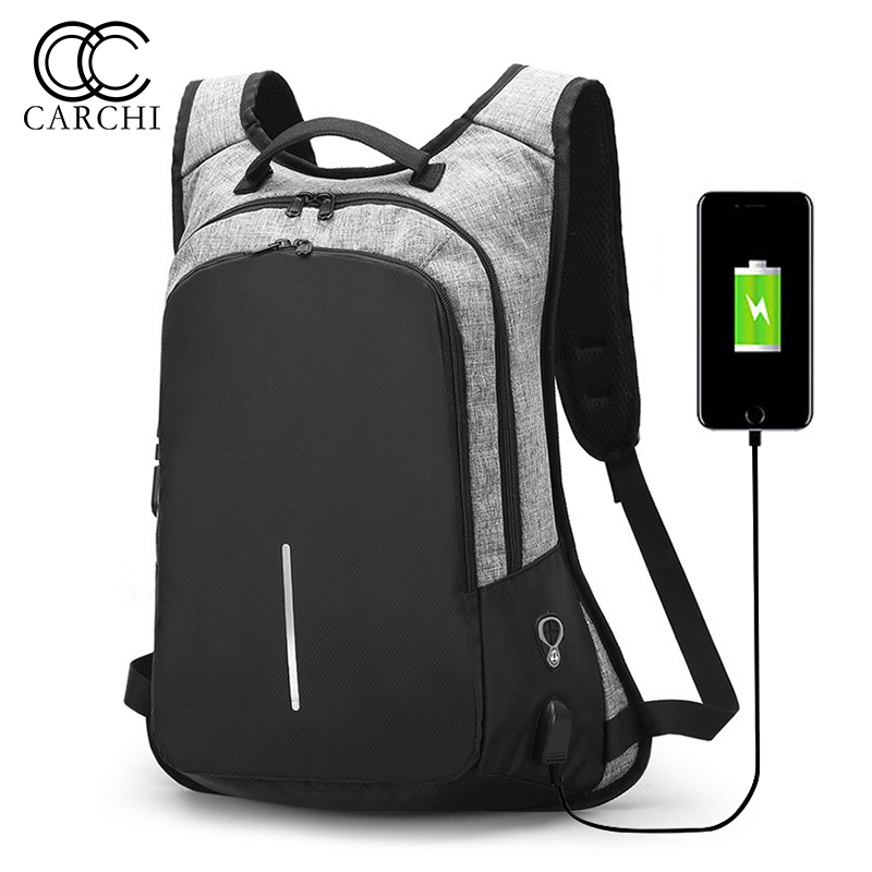 Carchi Male Usb Business Anti Theft Backpack For Men 15.6inch Laptop Backpack Mochila Fashion Travel Backpacks School Bags