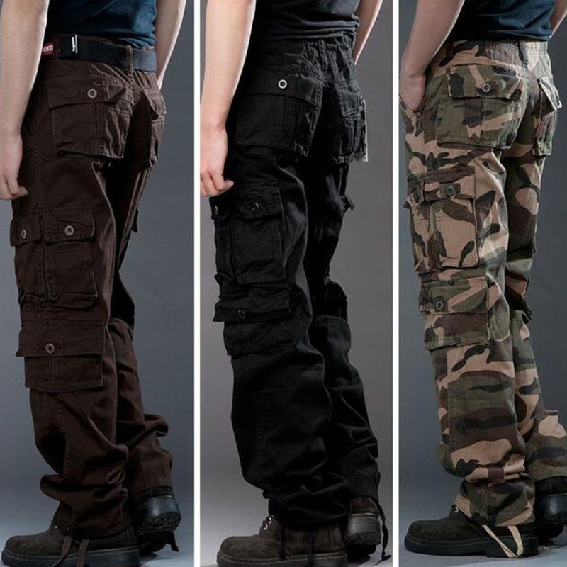 Men Tactical Cargo Pants Men Combat SWAT Army Military Pants 100% Cotton Many Pockets Stretch Flexible Man Casual Trousers