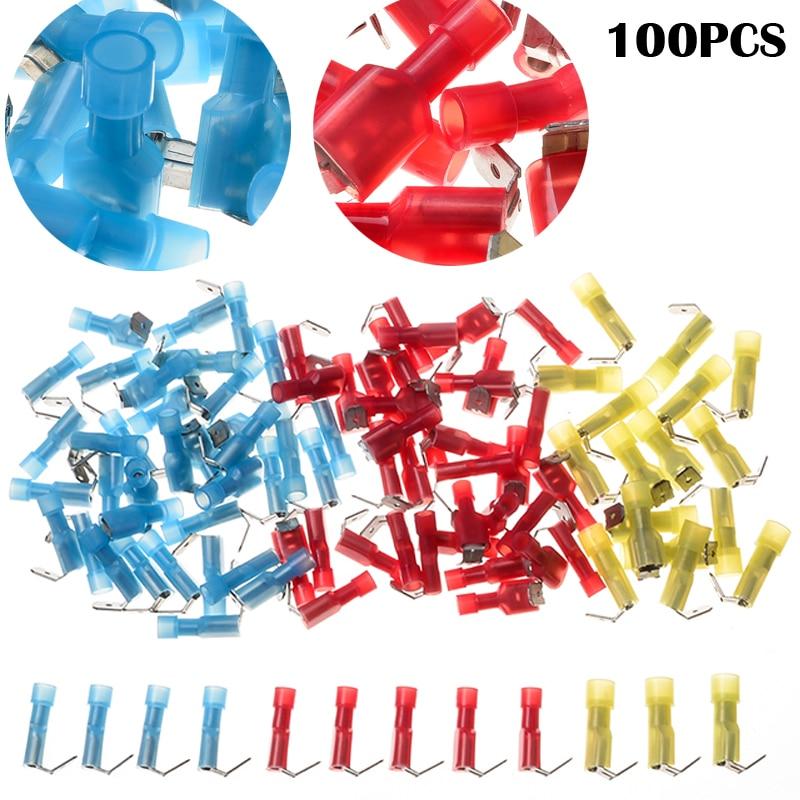 100PCS Nylon Insulation 3 sizes Assortments Piggy Back Connectors AWG 22-10 Set Humpback Spade Cold Crimp Terminals Kit 106171 2030[fiber optic connectors bsc back panel adapt k pa mr li