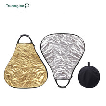 TRUMAGINE 60CM 2 in 1 Portable Collapsible Triangle Lighting Reflector For Photographic Studio With Handle And Carry Bag