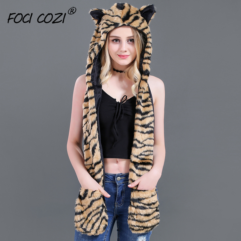 2019 New Novelty Women Winter Accessories Faux Fur Brown Black Stripe Tiger Hooded Hat Scarf Gloves Pocket Mittens For Women