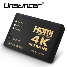UNSTINCER 4K 3 to 1 HDMI Switch Switcher Splitter 3 in 1 out 1.4 HDMI Switch 3×1  3 port 1080p video with IR Remote For HDTV PS3