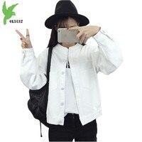 מעיל חדש ליידי אביב סתיו ג 'ינס לבן בגדי תלמיד האופנה Loose צמרות מעיל מזדמן הלבשה עליונה קאובוי רקמה OKXGNZ A541